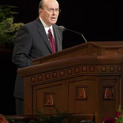 Elder Quentin L. Cook, Quorum of the Twelve Apostles speaks during the Sunday afternoon session of the 183rd Semiannual General Conference for the Church of Jesus Christ of Latter-day Saints Sunday, Oct. 6, 2013 inside the Conference Center.