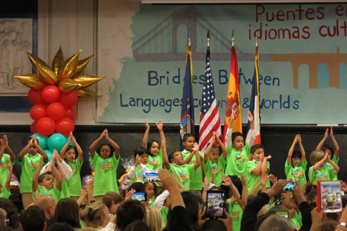 Students in a Spanish-English dual language program at P.S. 103 Dos Puentes Elementary School in Manhattan.