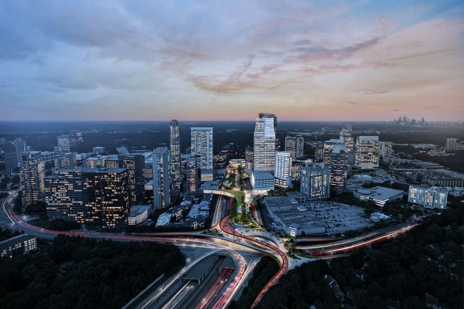 A rendering over many sky rises and a highway in Buckhead atlanta.