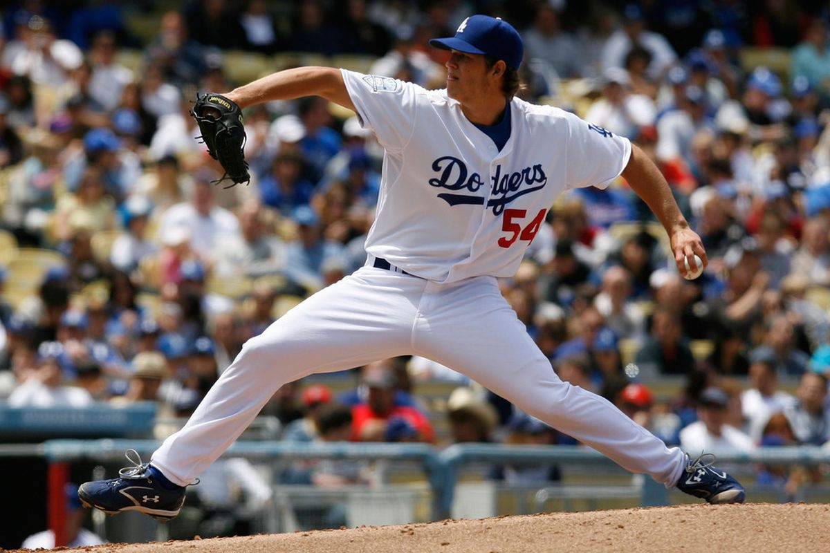 Clayton Kershaw allowed two runs in six innings to the Cardinals in his MLB debut, on May 25, 2008 (<em>Jeff Gross | Getty Images</em>)