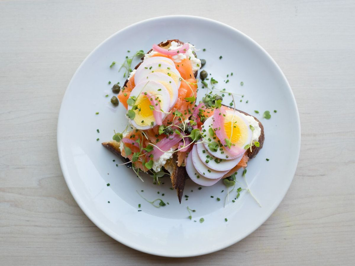 The Fish Out of Water is a popular dish at Egg Shop that features Acme-smoked salmon with hard-boiled eggs