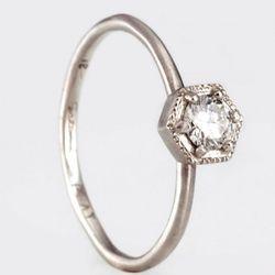 "Satomi Kawakita Hexagon Ring with White Diamond, <a href=""https://catbirdnyc.com/shop/product.php?productid=17606&cat=312&page=1"" target=""_blank"" rel=""nofollow"">Catbird</a>, $590"