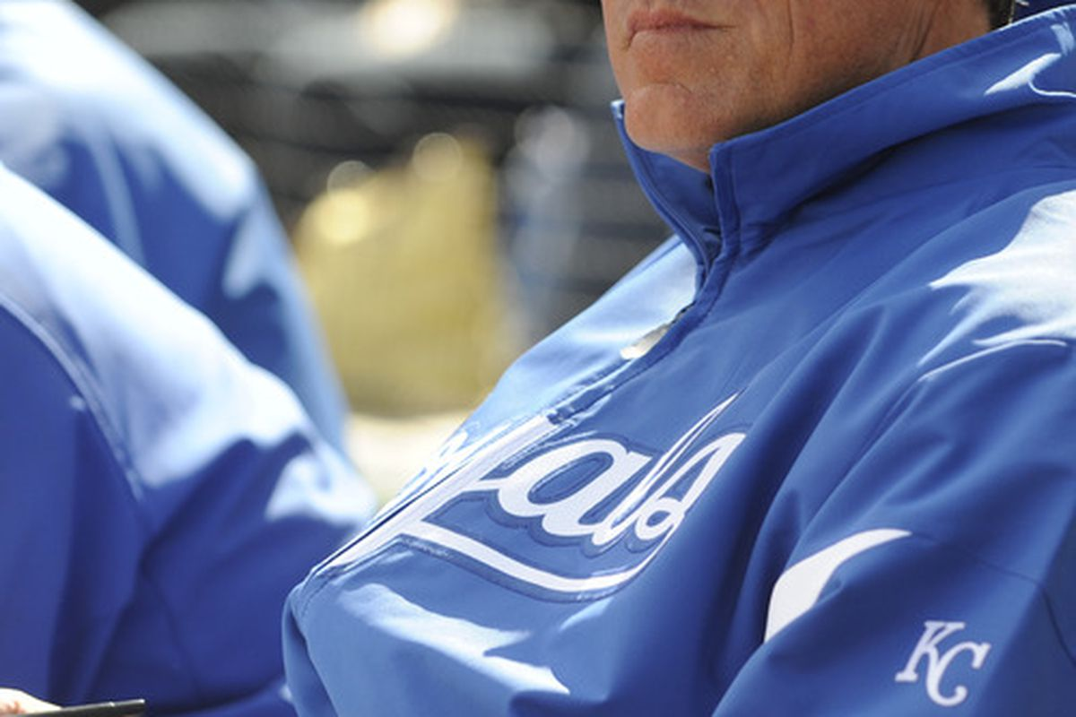 SURPISE, AZ - FEBRUARY 27: Ned Yost manager of the Kansas City Royals looks on during a spring training game against the Texas Rangers at Surprise Stadium on February 27, 2011 in Surprise, Arizona. (Photo by Rob Tringali/Getty Images)