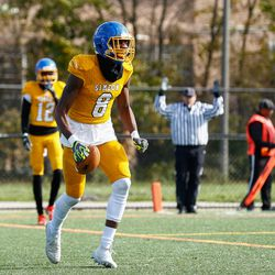 Simeon's George Gumbs (8) reacts after scoring a touchdown against Lakes.