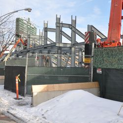 The work fences have been extended north on Kenmore -