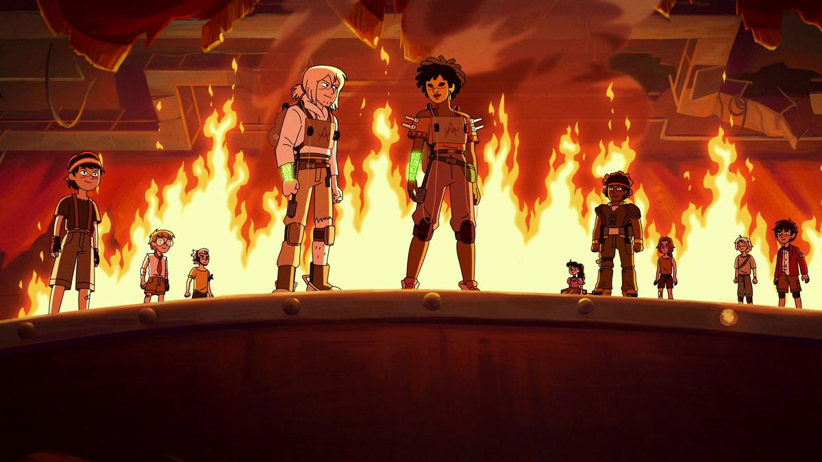 grace, simon, and the rest of the apex standing around a burning car
