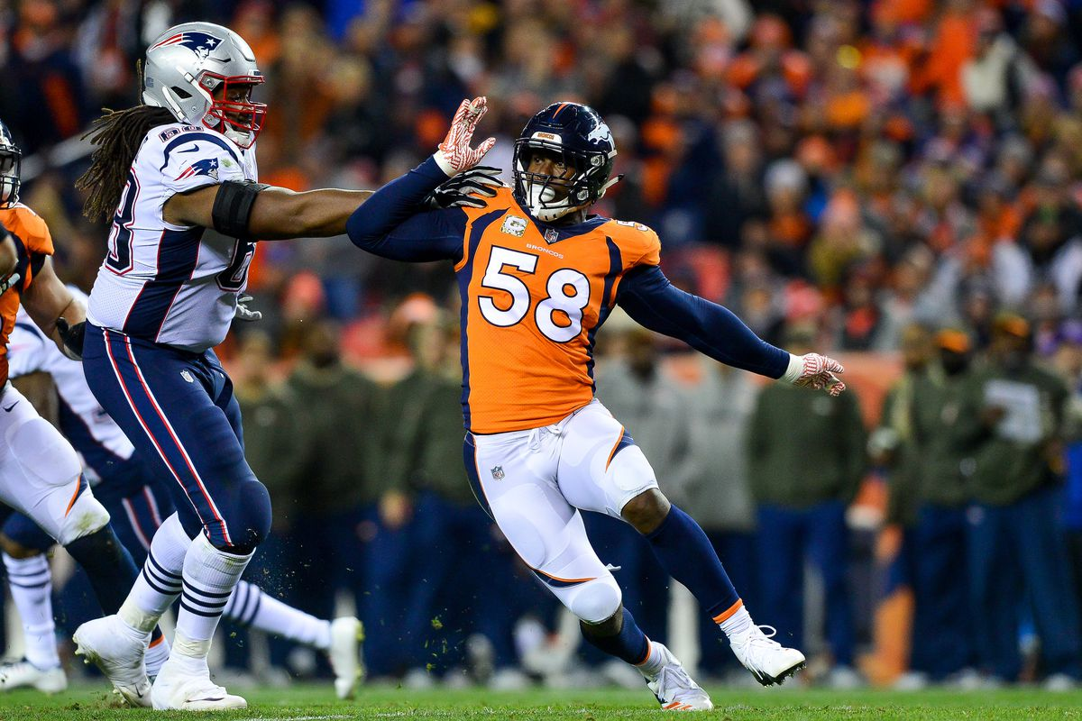 Von miller embarks on a media tour to talk about tom brady and the photo by dustin bradfordgetty images malvernweather Gallery