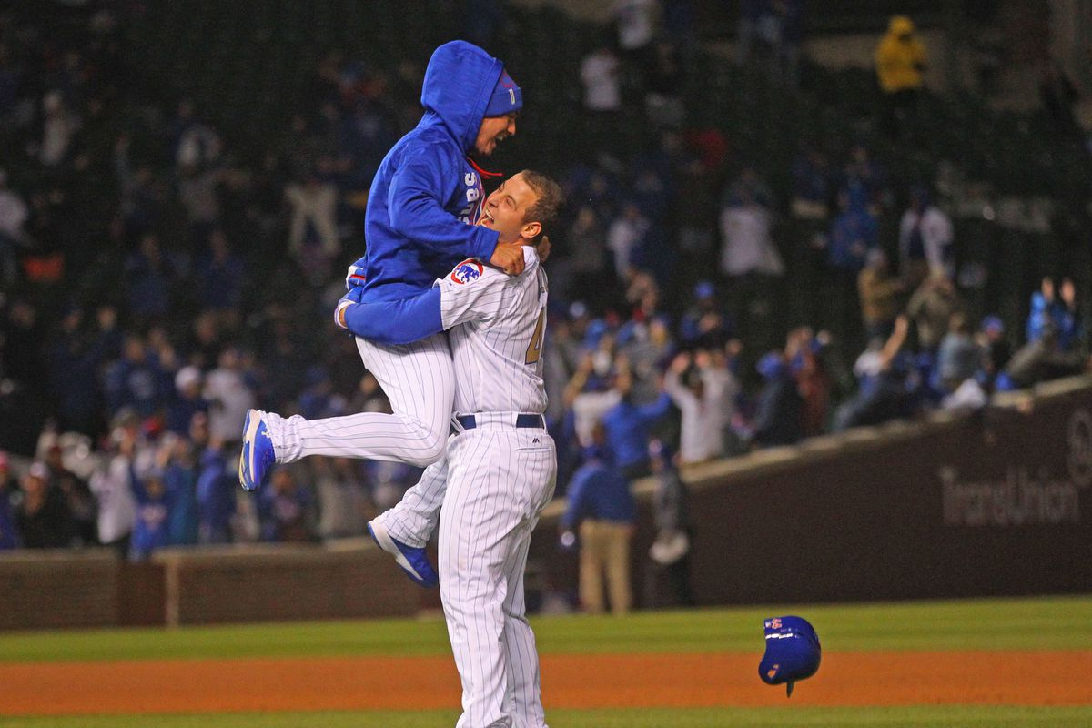 Apr 10, 2017; Chicago, IL, USA; Chicago Cubs first baseman Anthony Rizzo (44) celebrates with center fielder Albert Almora Jr. (5) after hitting the game winning single during the ninth inning against the Los Angeles Dodgers at Wrigley Field. Mandatory Credit: Dennis Wierzbicki-USA TODAY Sports