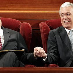 President Thomas S. Monson, left, and President Dieter F. Uchtdorf share a laugh before the 180th Annual General Conference on Saturday morning at the Conference Center.