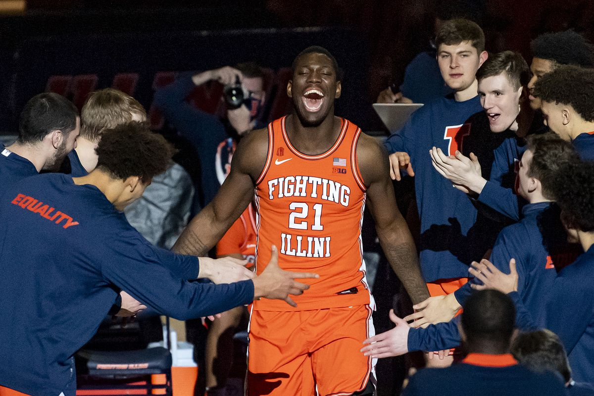 Illinois Fighting Illini center Kofi Cockburn is introduced prior to a game against the Northwestern Wildcats at the State Farm Center.