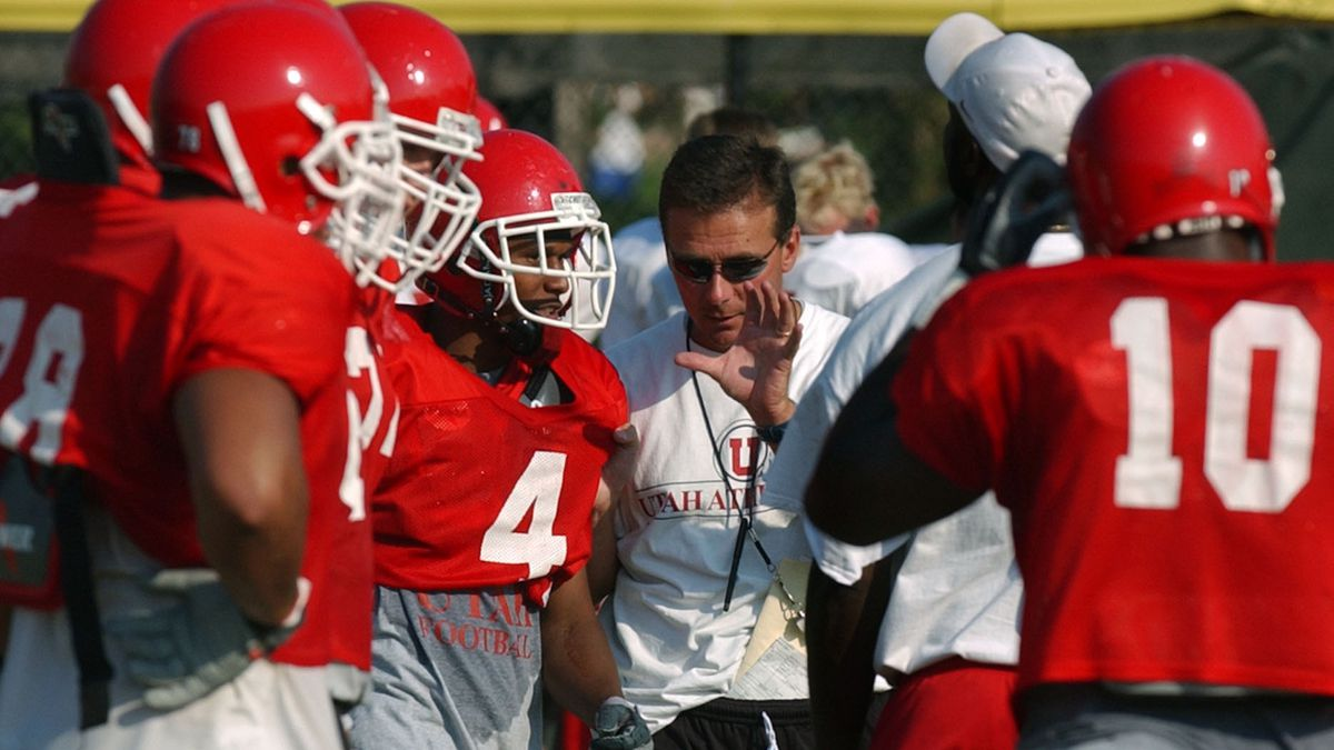 Utah football coach, Urban Meyer, coaches practice at the practice facility at the University of Utah. photo: michael Brandy. 8/18/03 (Submission date: 08/18/2003)
