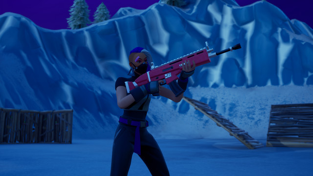 a Fortnite character holds a standard Assault Rifle
