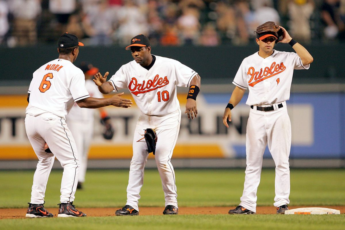 Melvin Mora, Miguel Tejada, and Brian Roberts played together in the 2005 All-Star Game, but sadly didn't get to do their victory hand slap in the game. (Photo by Jamie Squire/Getty Images)