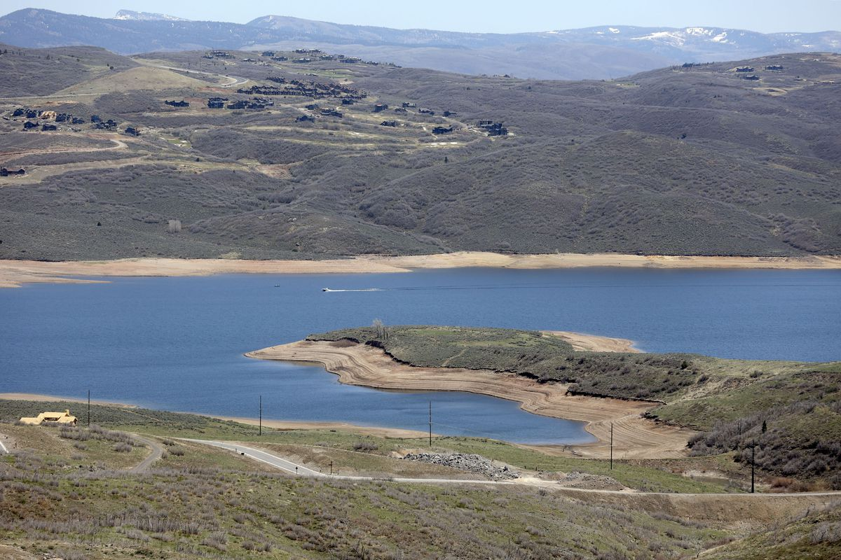 Jordanelle Reservoir has low water levels in spring of 2021.