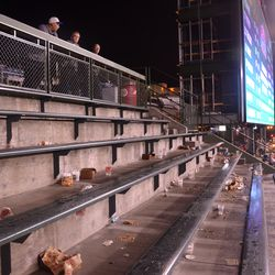 10:19 p.m. Right-field bleachers, with right-field porch on the top -