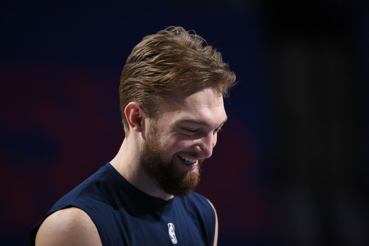 Domantas Sabonis of the Indiana Pacers smiles before the game against the Philadelphia 76ers on March 1, 2021 at the Wells Fargo Center in Philadelphia, Pennsylvania.