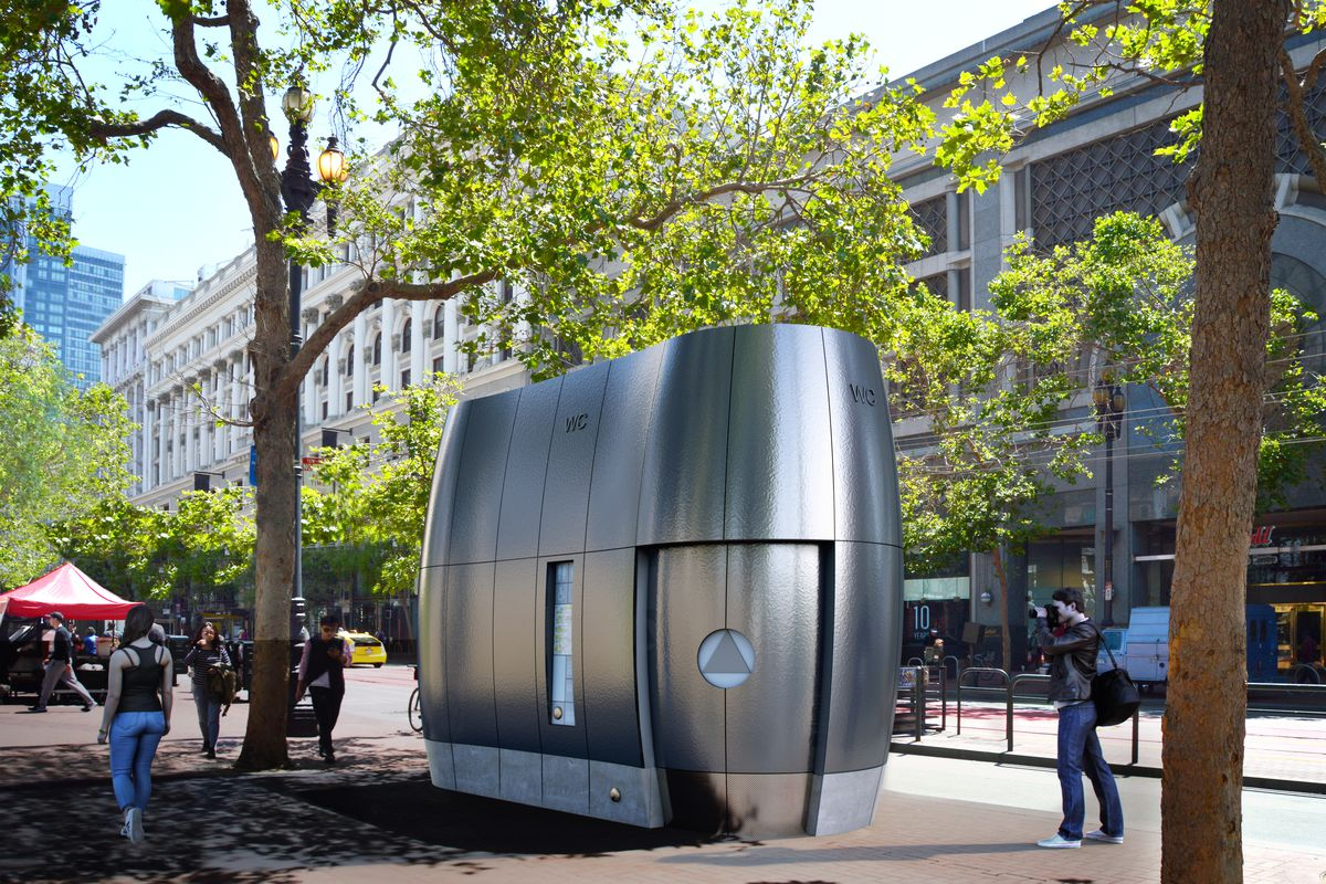 Rendering of sleek, steel, and curvy new toilet kiosk on Market Street in San Francisco.