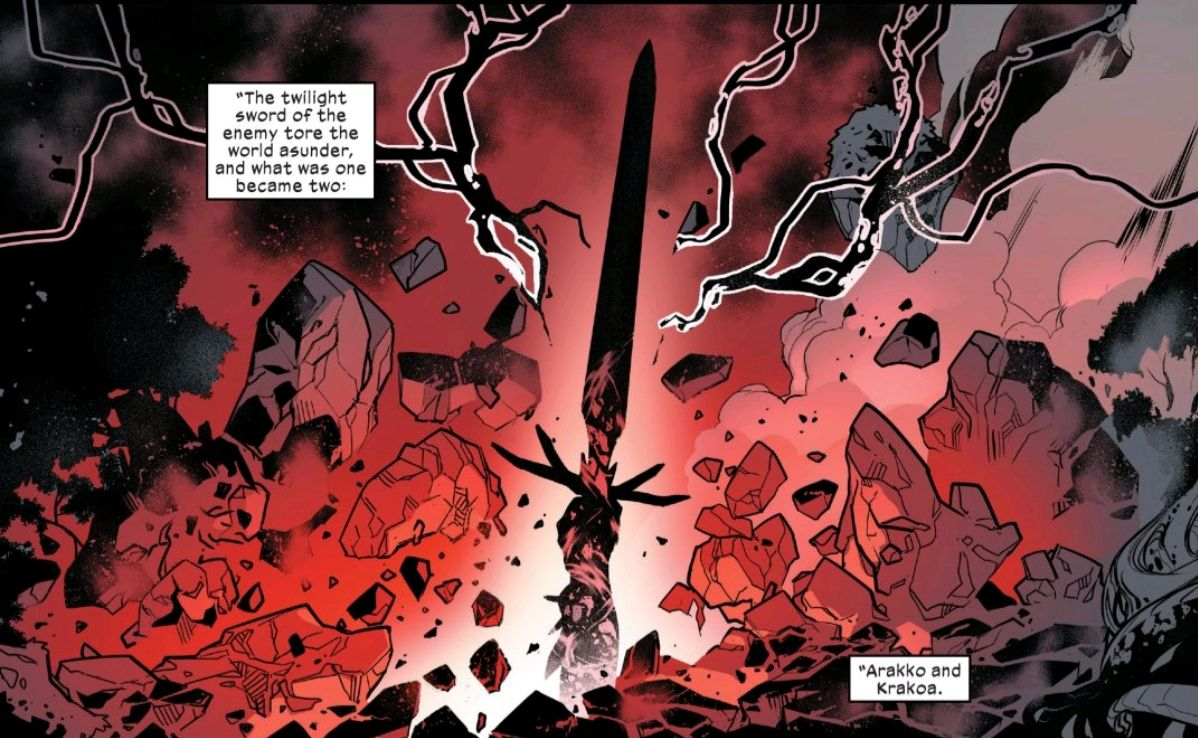 The twilight sword, raised by an unknown hand, punches through rock and earth, black lightning arcing from its blade, in Powers of X #4, Marvel Comics (2019).