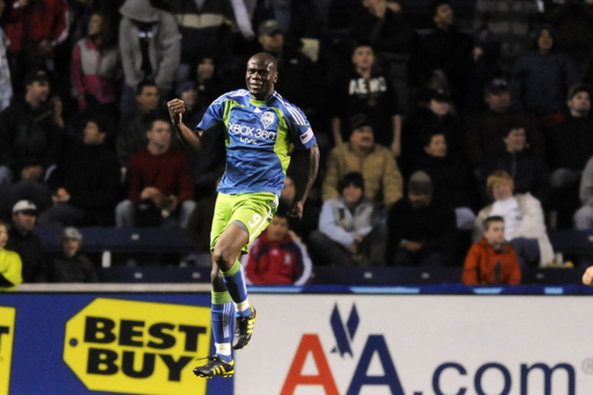 Blaise Nkufo celebrating a goal. Hey, that sounds good! (Photo by David Banks/Getty Images)