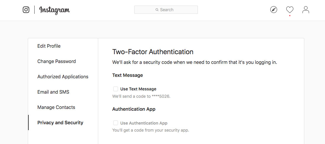 Instagram two-factor authentication 2fa