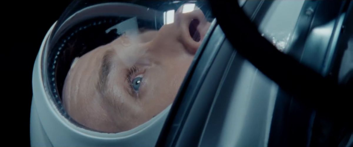 First Man - close-up of Neil Armstrong's face when he's strapped into the Apollo 11 spacecraft