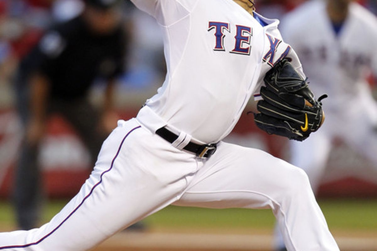 ARLINGTON, TX - MAY 11: Yu Darvish # 11 of the Texas Rangers pitches against the Los Angeles Angels of Anaheim on May 11, 2012 in Arlington, Texas. (Photo by Layne Murdoch/Getty Images)