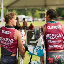 Harley Clifford and Mike Dowdy at the 2017 Supra Pro Wakeboard Tour event at Oak Mountain State Park near Birmingham, Alabama.