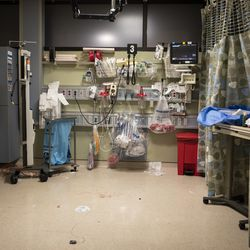 Trauma bay No. 3 is in disarray and has blood on the floor after a man was treated for a stab wound in the Emergency Department at Mount Sinai Hospital. Within minutes, the room was cleaned and prepped for the next patient.