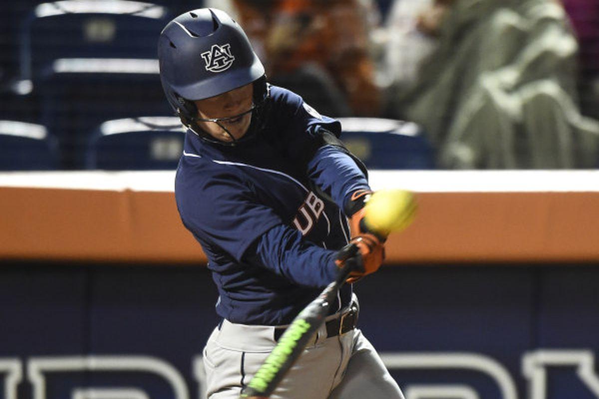 Anna Gibbs (10) hits a home run. Ohio State vs Auburn in Auburn, Ala. on Friday, Feb. 27, 2015