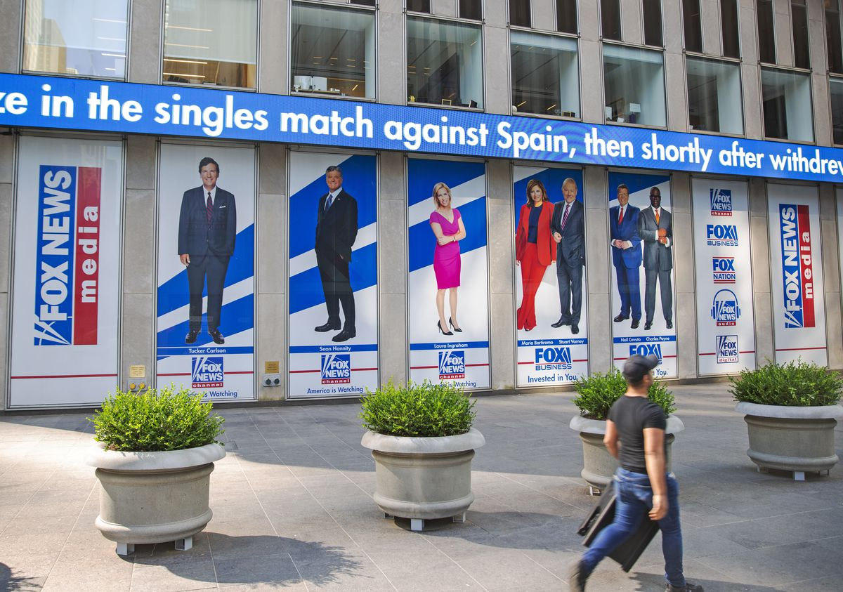 Promotional posters outside Fox News studios at News Corporation headquarters in New York on July 31, 2021,.