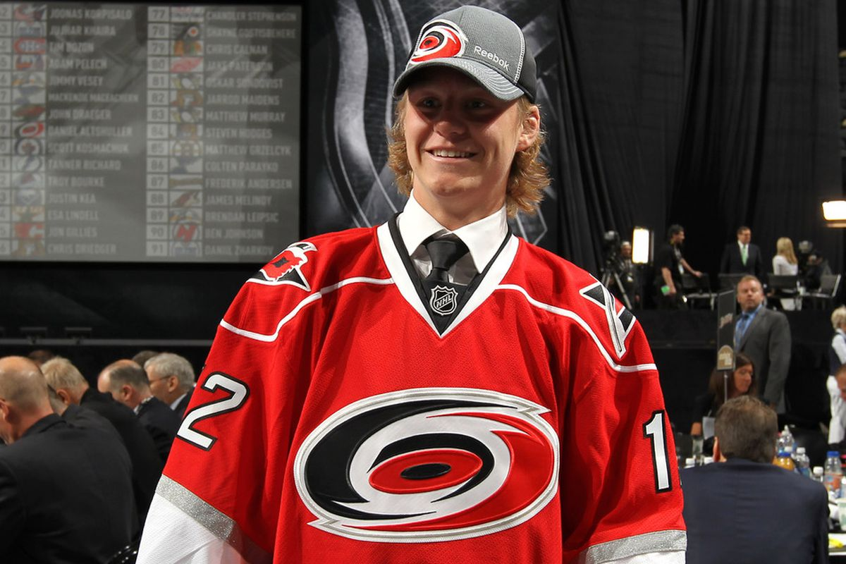 PITTSBURGH, PA - JUNE 23: Erik Karlsson, 99th overall pick by the Carolina Hurricanes, looks on during day two of the 2012 NHL Entry Draft at Consol Energy Center on June 23, 2012 in Pittsburgh, Pennsylvania.  (Photo by Bruce Bennett/Getty Images)