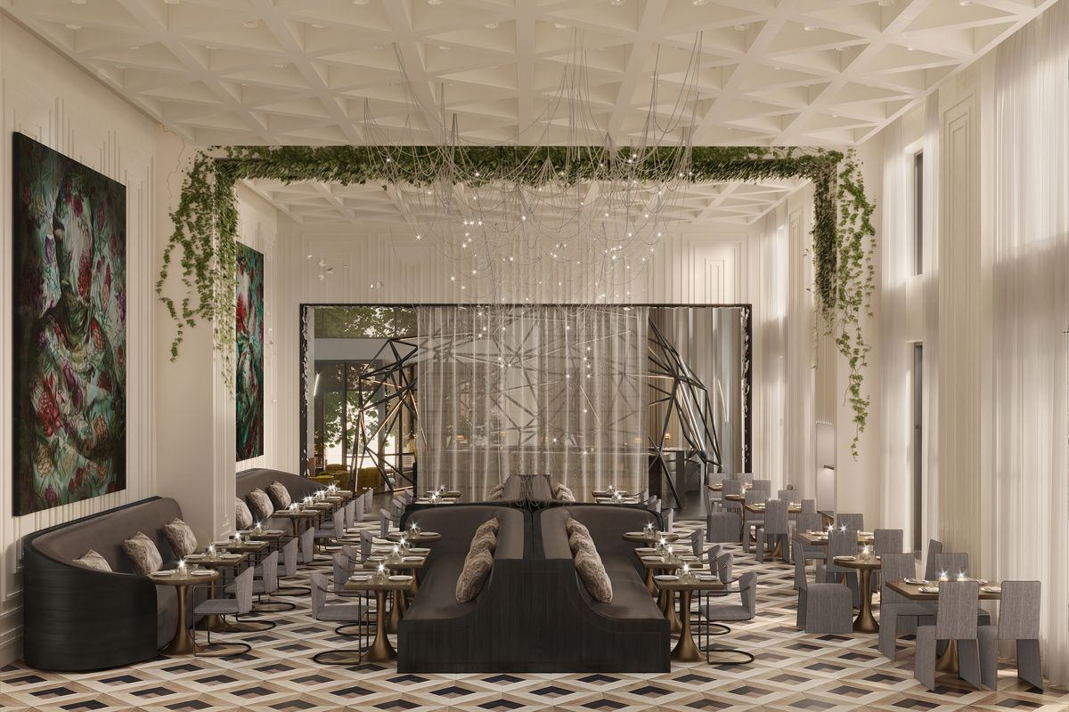 A rendering of Madam at the Daxton Hotel features long plants hanging across the ceiling next to a large window.