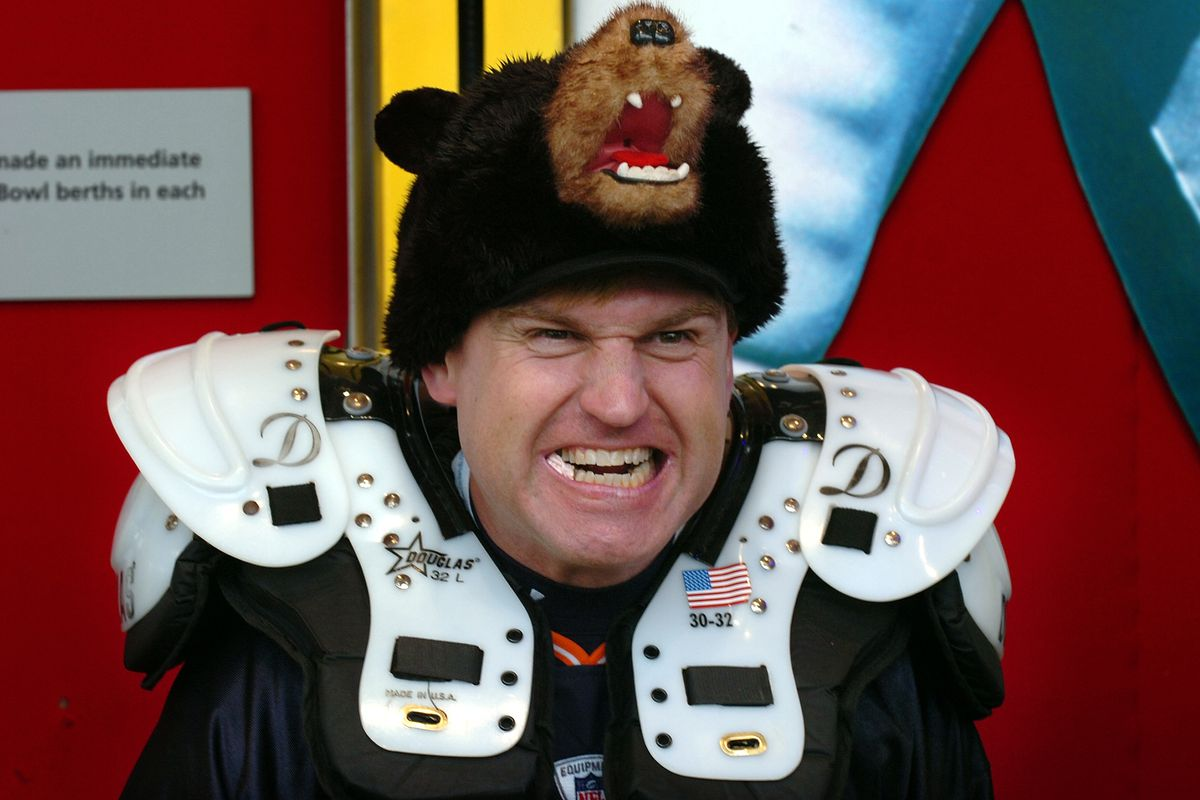 John Fisher of Albany, New York, poses with his bear hat at the NFL Experience outside Dolphins Stadium at Super Bowl XLI in Miami, Florida, on Sunday, February 4, 2007.