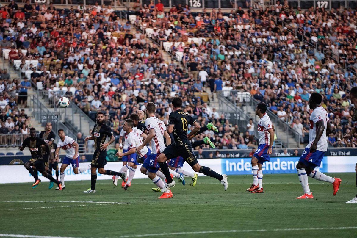 Ken Tribbett scores a goal for the Philadelphia Union against Toronto FC.