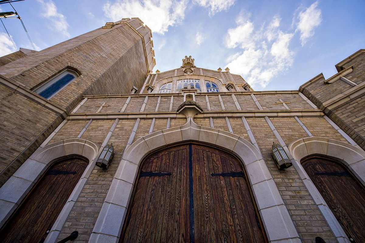 In West End, here's the entryway of St. Anthony of Padua Catholic Church off Ralph David Abernathy Boulevard.