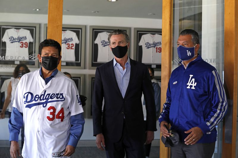 Gov. Gavin Newsom, Dodger Stadium, Secretary of State (CA) Alex Padilla, Dodger owner Peter Guber, Dodger President/CEO Stan Kasten, and Fernando Valenzuela