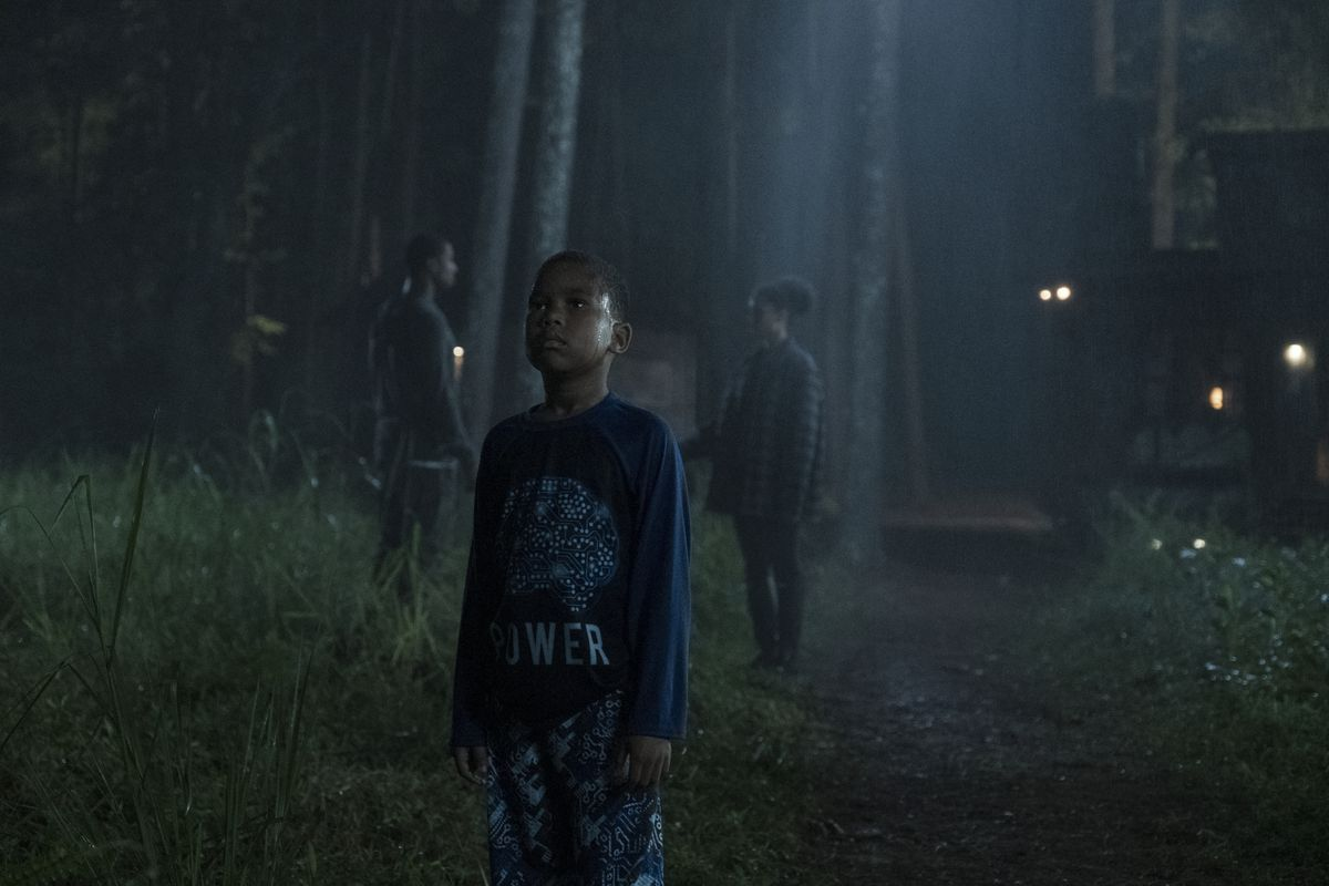 a dark forest. a young boy stares up into the sky. behind him, two adult figures are deep in discussion