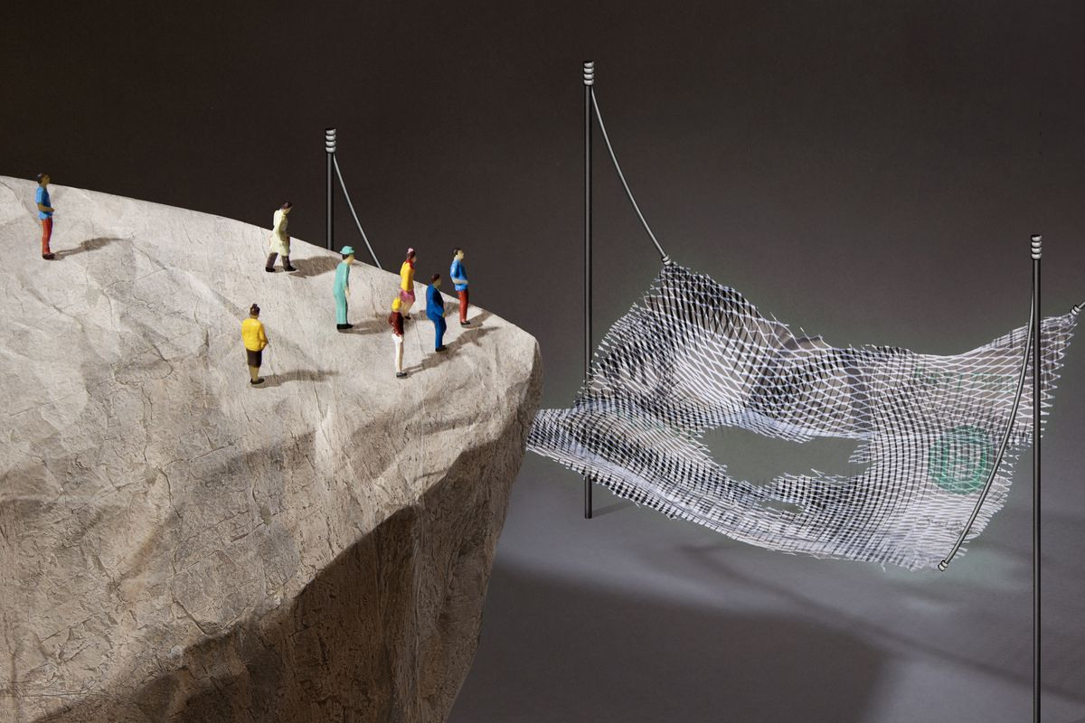 Illustration of people on a cliff looking at a glowing net with holes that is somewhat made of American cash.