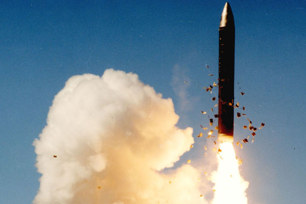A Peacekeeper missile after silo launch.