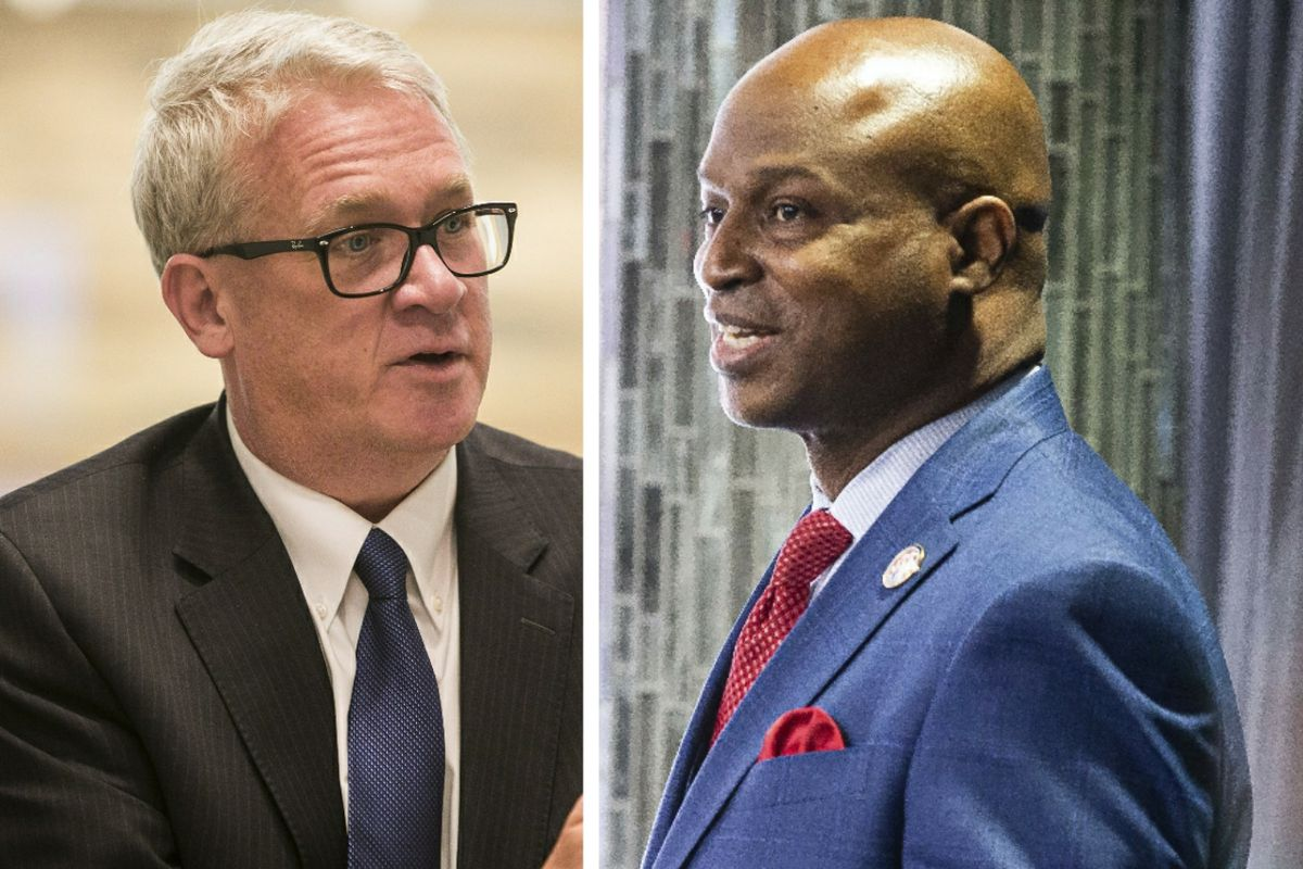 "Illinois House Republican Leader Jim Durkin, left; House Speaker Emanuel ""Chris"" Welch, right."