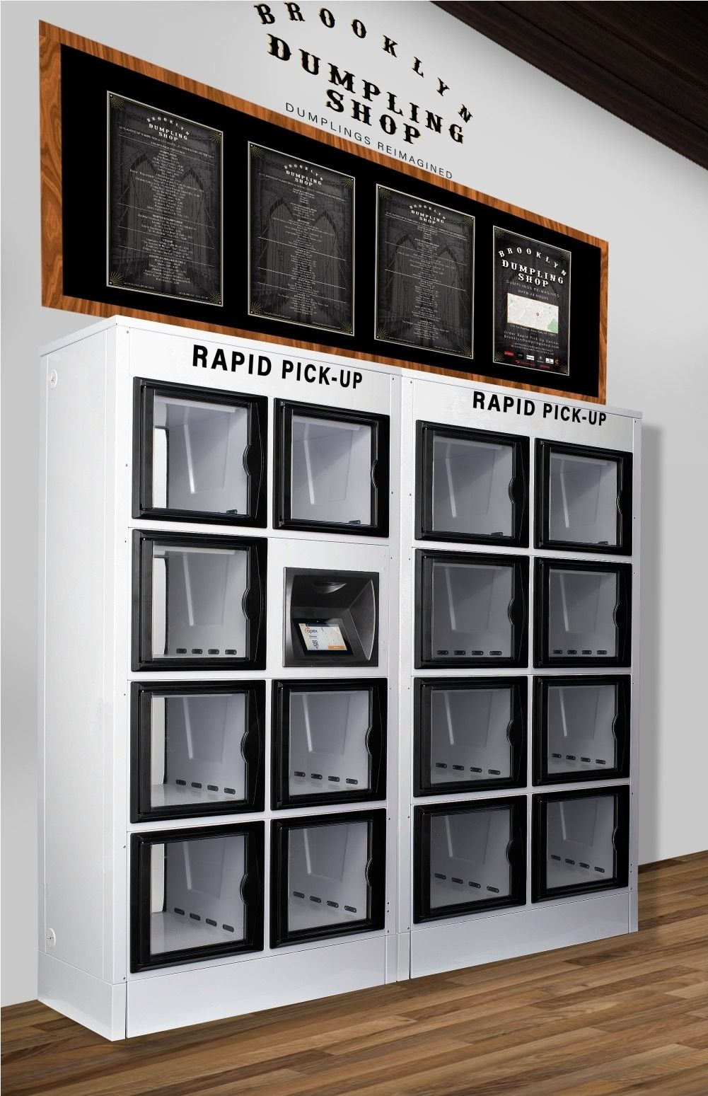 A stack of glass lockers with a blackboard on top that has food items printed on it