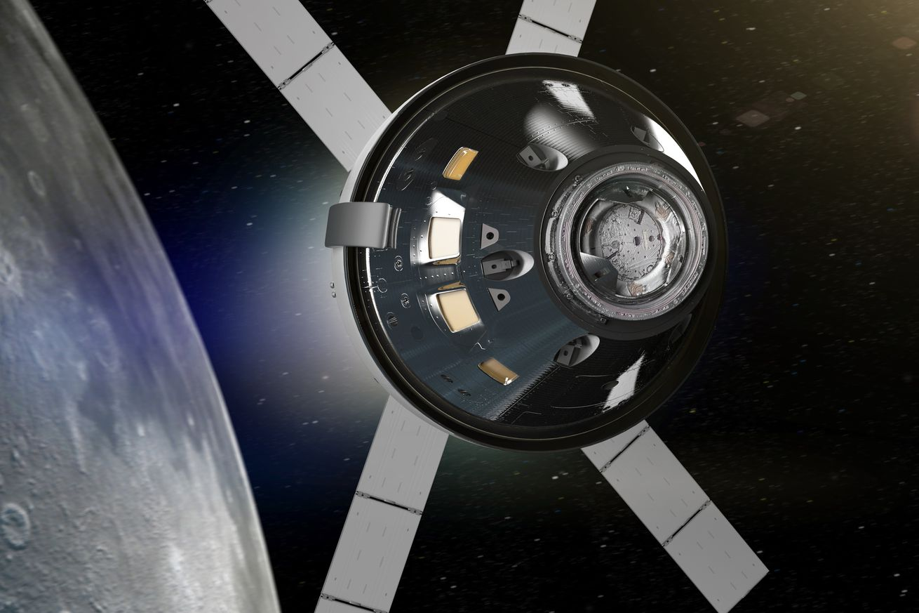 <em>An artistic rendering of NASA's Orion capsule flying by the Moon.</em>