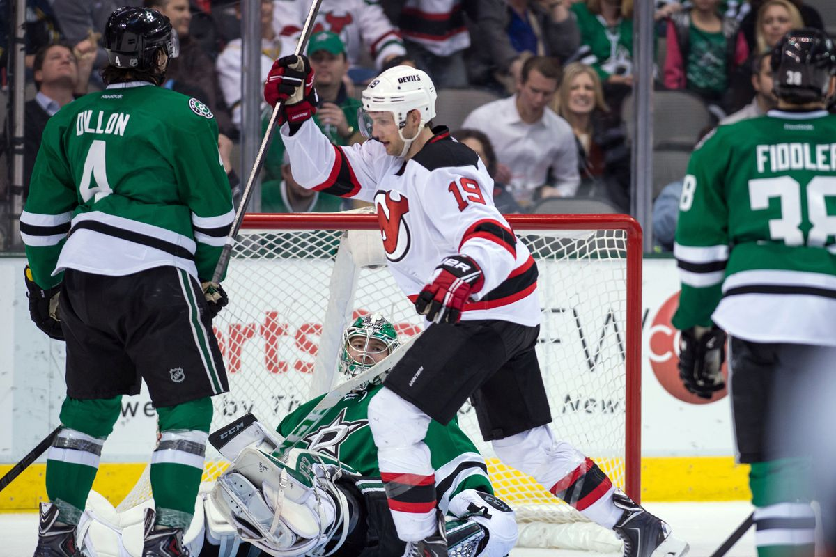 Patrik Elias scored the game winning goal in OT. He's not covered in this picture; just like he wasn't covered on his shot. Travis Zajac likes it anyway.