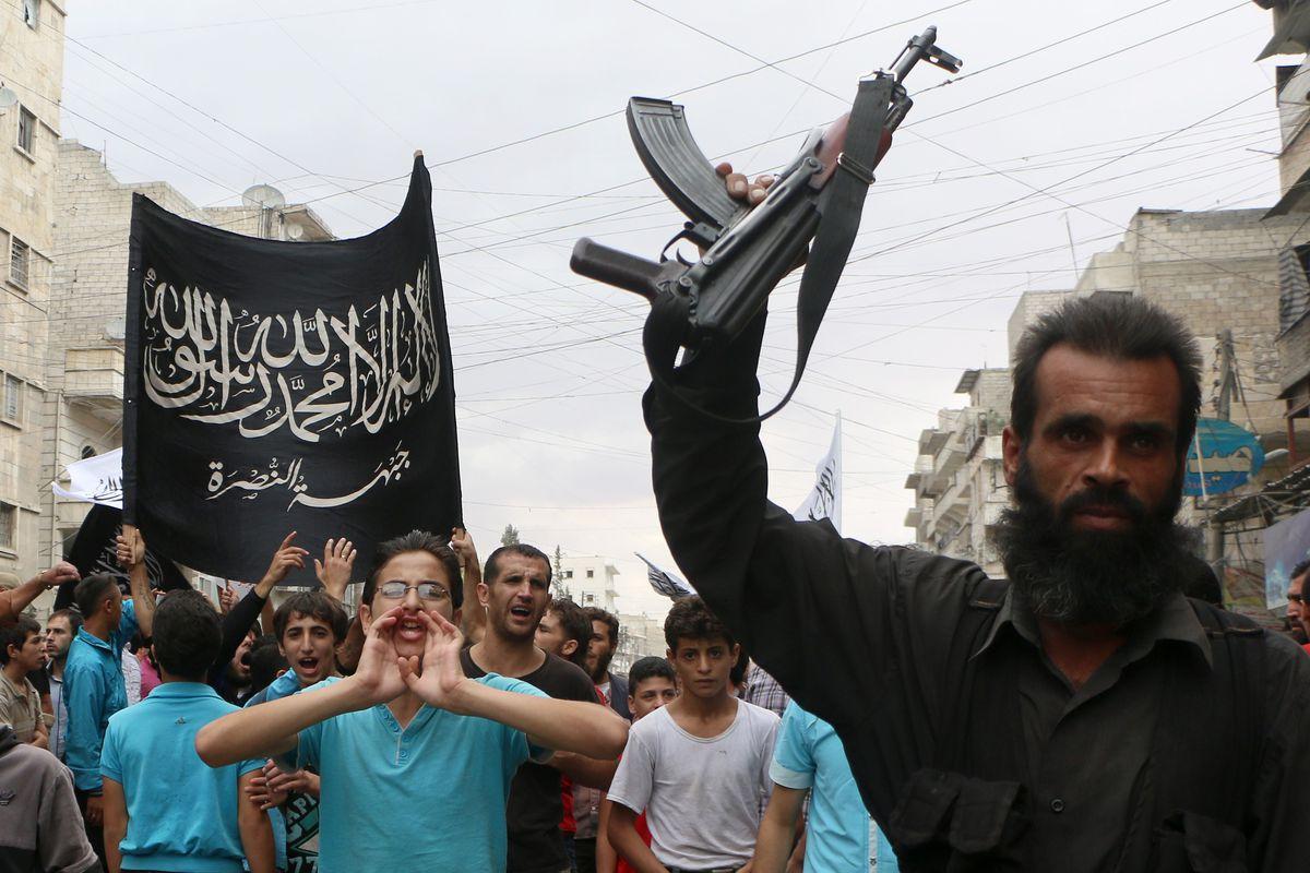 Jabhat al-Nusra fighters. Nusra is al-Qaeda's Syrian branch, and houses Khorasan.