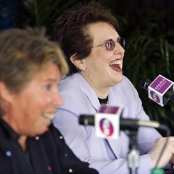 Rosie Casals, at left, and Billie Jean King talk about the original nine members of women's professional tennis and the 40-year history of the Family Circle Cup during a news conference at the Family Circle Cup tennis tournament in Charleston, S.C., Saturday, April 7, 2012.  Both Casals and King were part of the original nine.