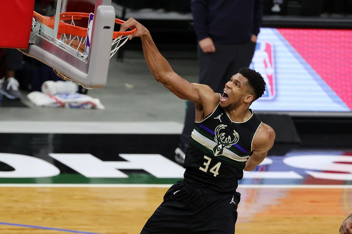 Giannis Antetokounmpo of the Milwaukee Bucks dunks during the second half of a game against the LA Clippers at Fiserv Forum on February 28, 2021 in Milwaukee, Wisconsin.