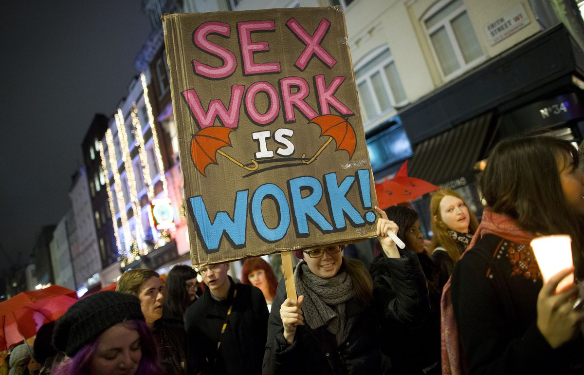 Protesters call for recognizing sex work as work.