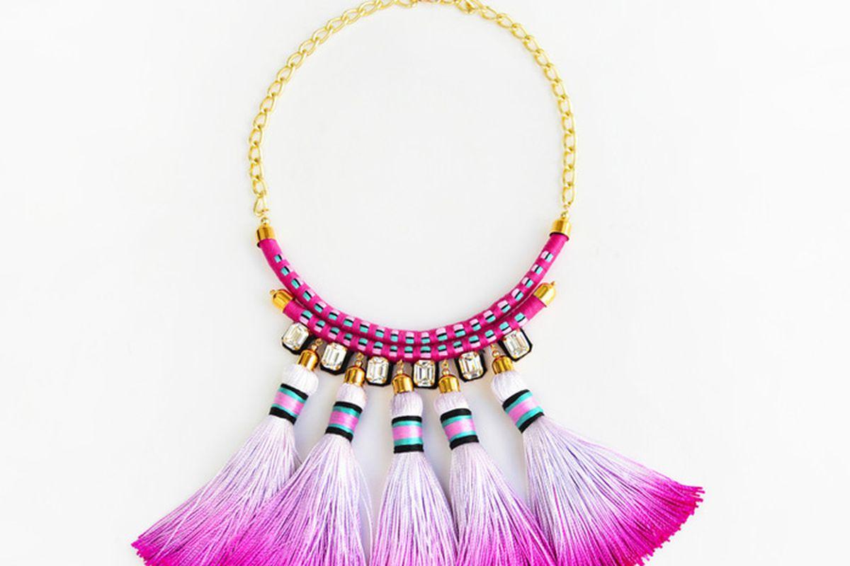 "Coral &amp; Stone Mega Tassel choker necklace, <a href=""http://www.coralandstone.com/shop/pink-tassel-choker-necklace"">$210</a>"