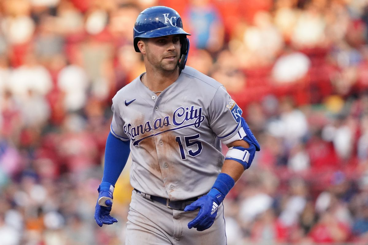Kansas City Royals right fielder Whit Merrifield (15) rounds the bases after hitting a home run against the Boston Red Sox during the second inning at Fenway Park.