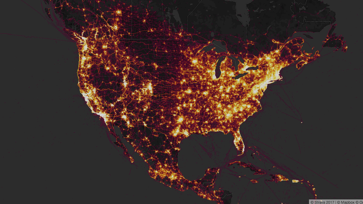 Strava's fitness tracker heat map reveals the location of